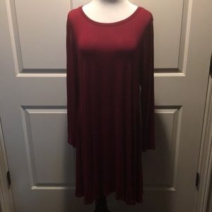 2x Long Sleeve Red Dress With Pockets